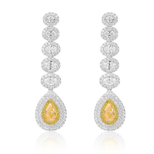 Yellow Diamond Drop Earrings - aviadiamonds