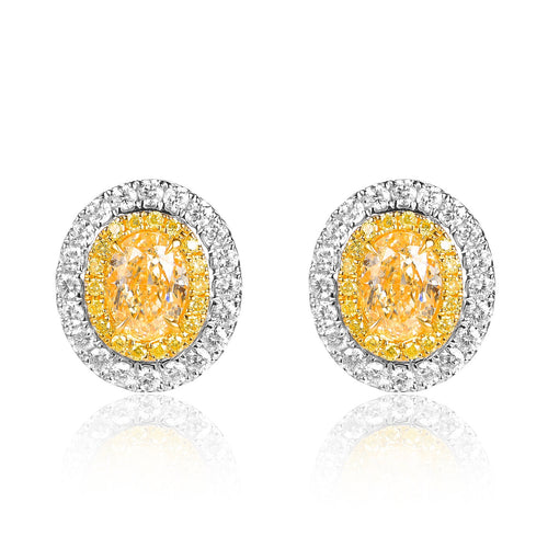Halo Fancy Yellow Diamonds Stud Earrings - aviadiamonds