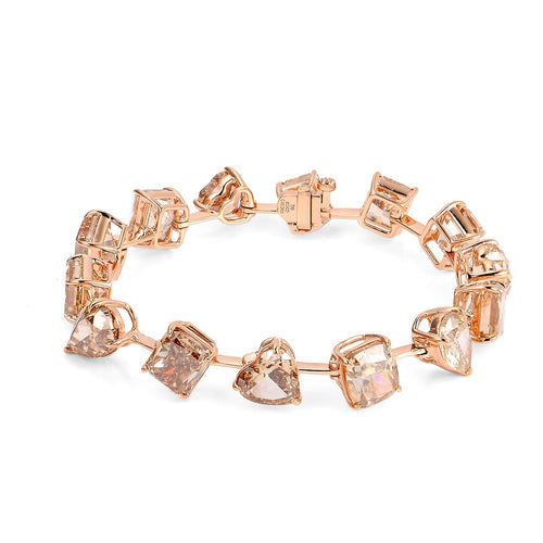 Fancy Light Brownish Pink Diamond Bracelet - aviadiamonds