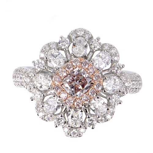 Brownish Pink Diamond Ring/Pendant - aviadiamonds