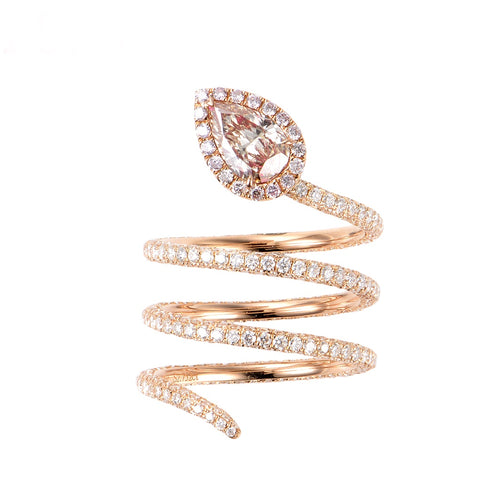 Serpentine Champagne Pink Diamond Ring - aviadiamonds
