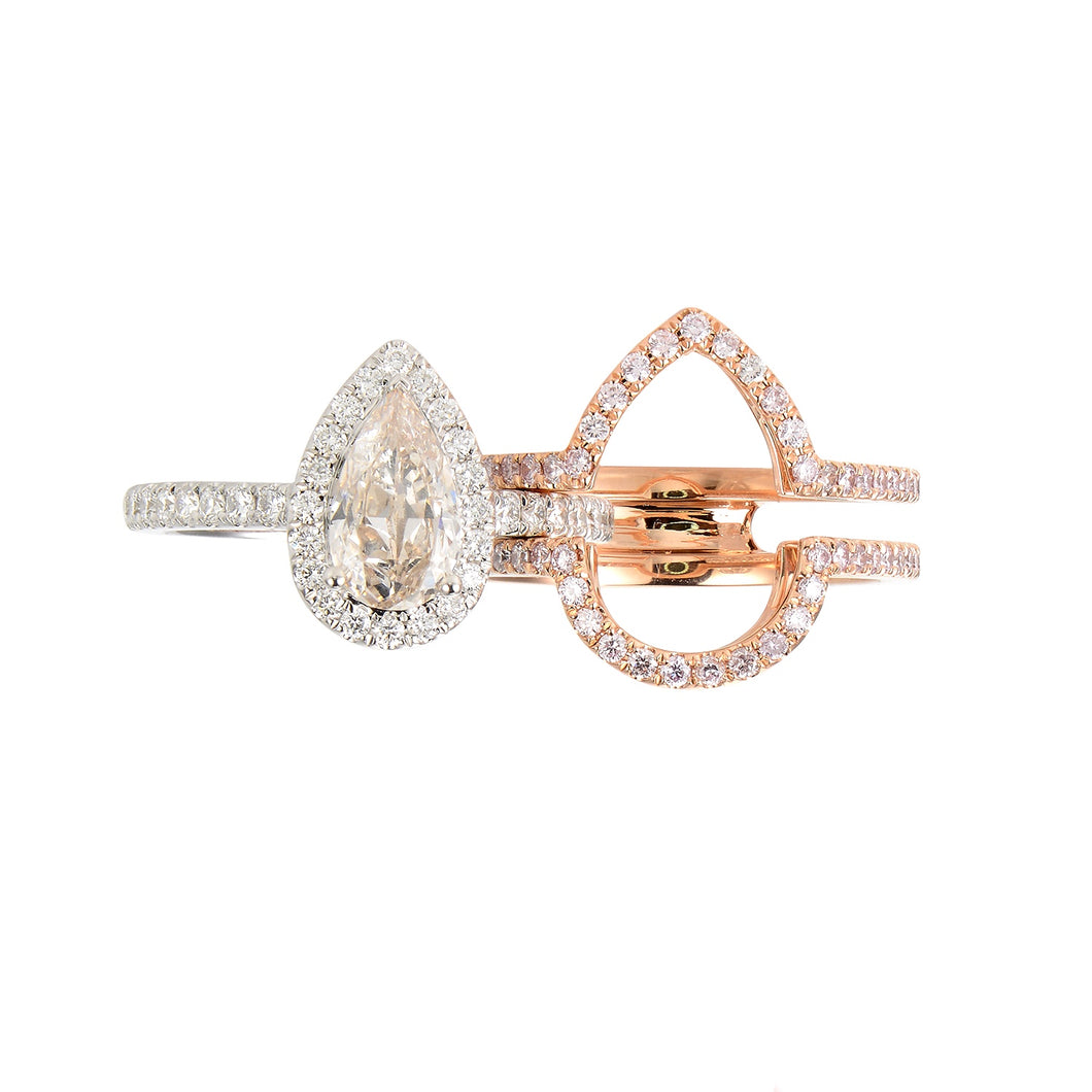 Toi et Moi White and Pink Diamond Rings (set of two) - aviadiamonds