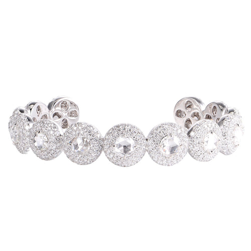 Rose Cut White Diamond Bangle - aviadiamonds