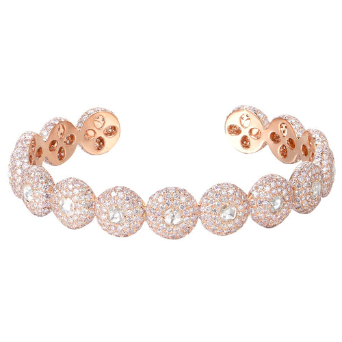 Rose Cut Pink Diamond Bangle - aviadiamonds