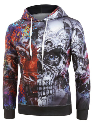 Open image in slideshow, Contrast Color Lion Printed Hoodie