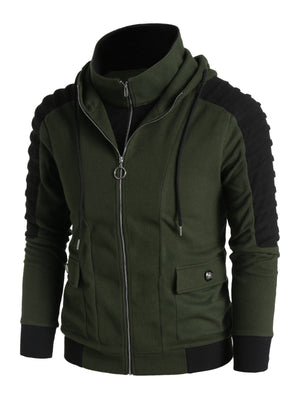 Open image in slideshow, Contrast Double Zip Up Hoodie