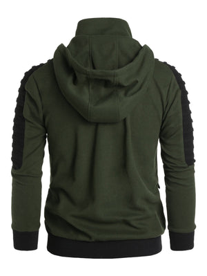 Contrast Double Zip Up Hoodie