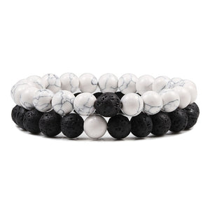 Open image in slideshow, Black White Beads Friendship
