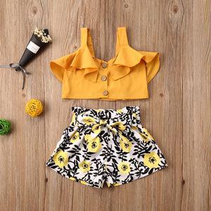 Baby Girls Clothes Sets Ruffles Yellow Button Sleeveless Vest