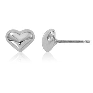 Carla 8mm Puffed Heart Sterling Silver Earrings