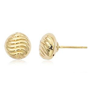 Carla 8mm Shrimp Yellow Gold Stud Earrings