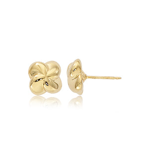 Carla Puffed Twist Yellow Gold Earrings