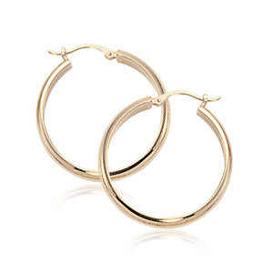 Carla 3.5x20mm ½ Round Yellow Gold Hoop Earrings