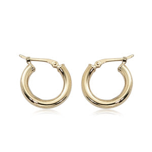 Carla 2.5x15mm Yellow Gold Hoop Earrings