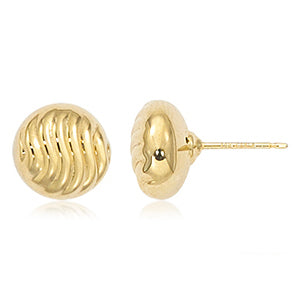 Carla 10mm Shrimp Yellow Gold Stud Earrings