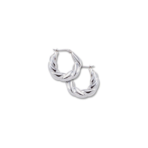 14K White Gold Twist Hoops