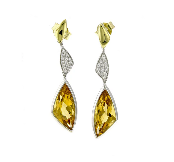 Breuning Gold and Citrine Dangle Earrings