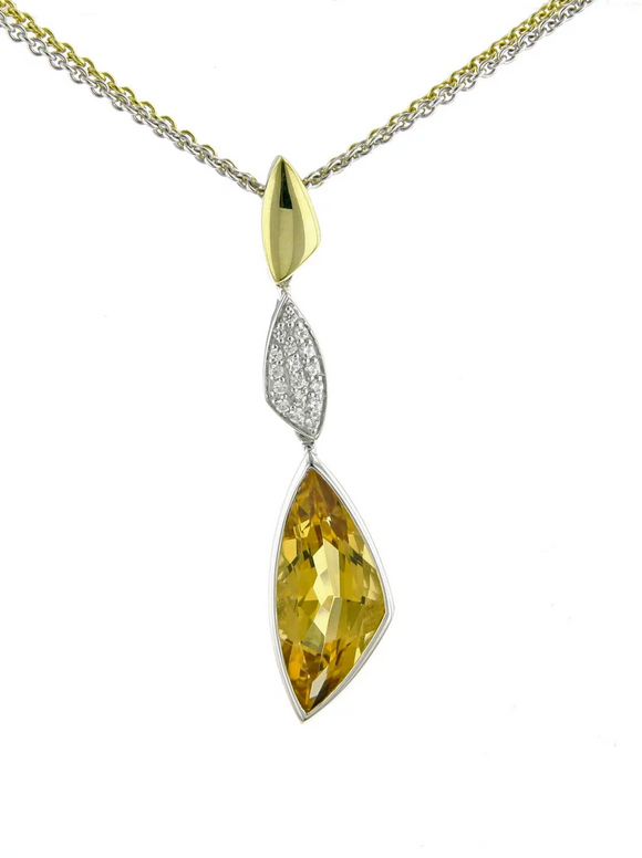 Breuning Gold and Citrine Dangle Pendant