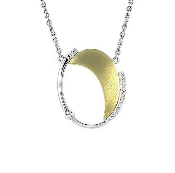 Breuning Yellow Gold Oval Diamond Necklace