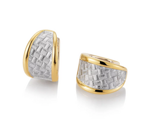 Breuning Gold and Sterling Silver Huggie Earrings