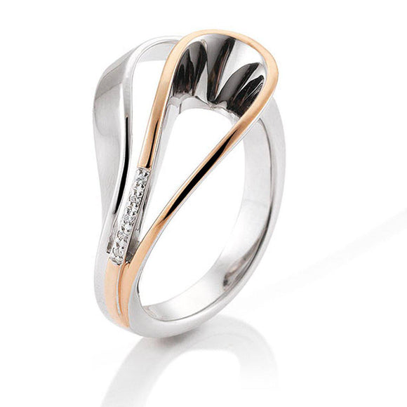 Breuning Rose Gold Sterling Silver White Sapphire Ring
