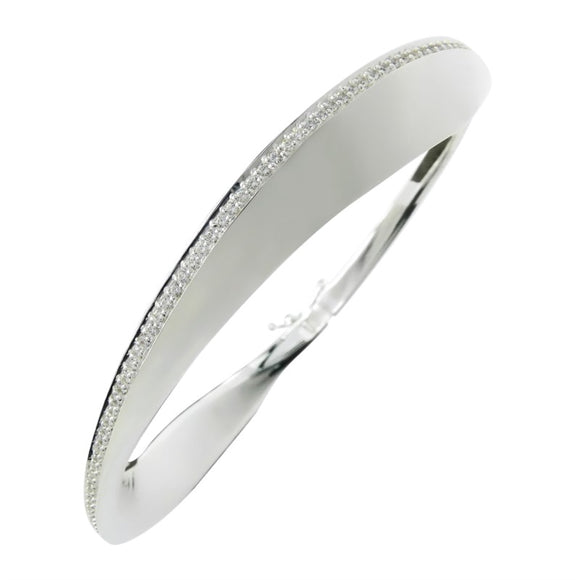 Breuning Sterling Silver White Sapphire Bangle