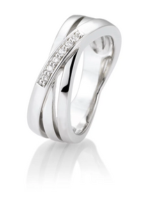 Breuning Sterling Silver with Diamond Ring