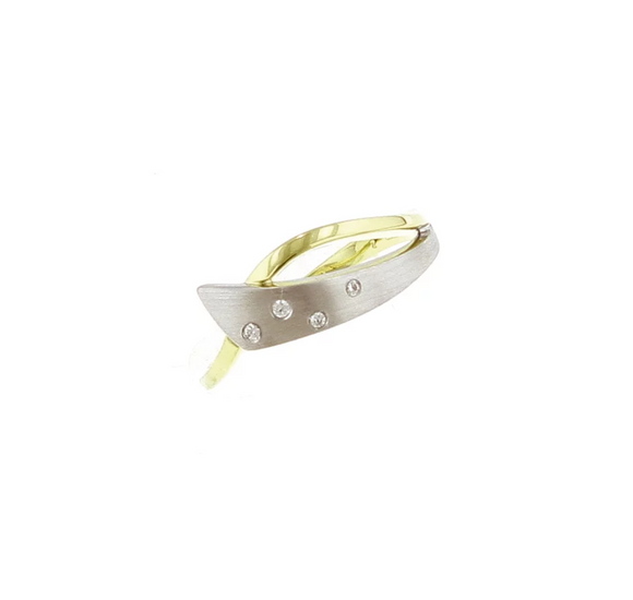 Breuning Yellow and White Gold Overlap Diamond Ring