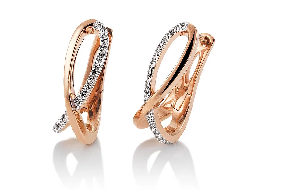 Breuning Rose Gold Diamond Loop Earrings