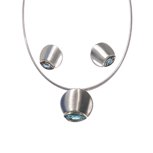 Silver Disc Blue Topaz Set