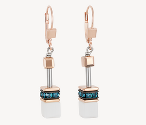GeoCUBE® Earrings rose gold, white & petrol