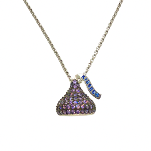 Hershey's Kiss Amethyst CZ Necklace