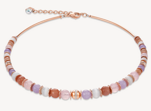 Necklace Ball Gemstones, stainless steel rose gold & crystals pavé light rose-beige