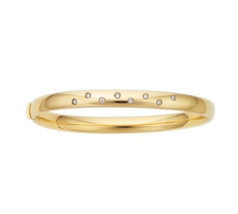 14K Yellow Gold Diamond Scatter Bangle