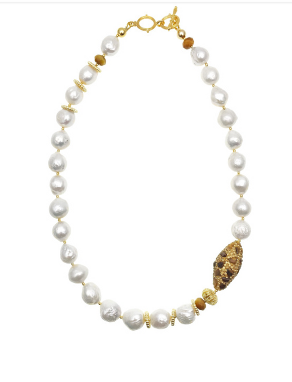 Farra Jewelry - Pearls and Tiger Eye Inlaid Gold Bead Necklace