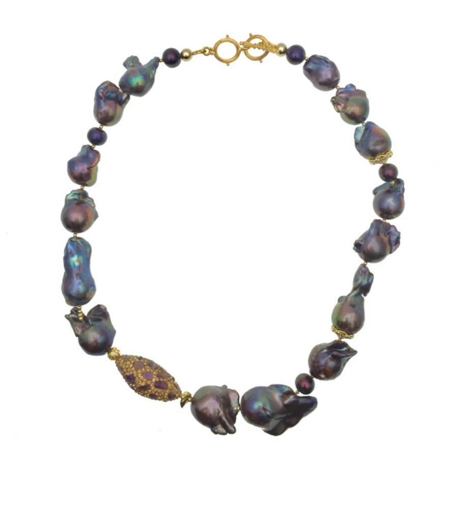 Farra Jewelry – Purple Baroque Pearls With Inlaid Gold Bead Necklace