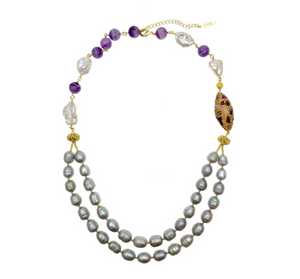 Farra Jewelry – Double Stranded Grey Pearls With Amethyst Inlaid Gold Bead Necklace