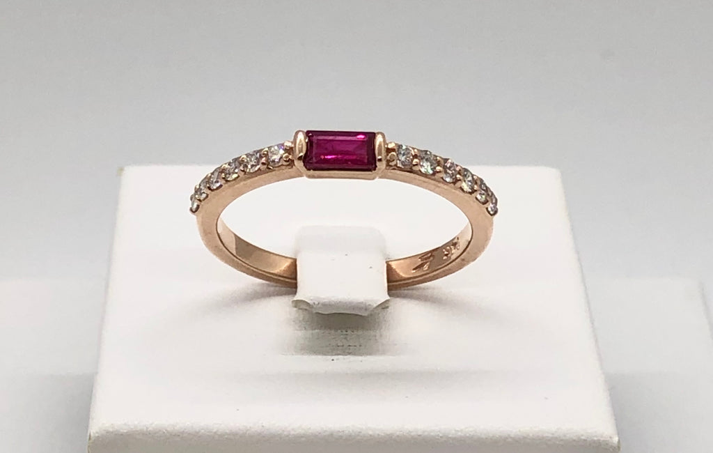 14K Rose Gold and Ruby Ring