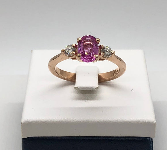 14K Rose Gold and Pink Sapphire Ring