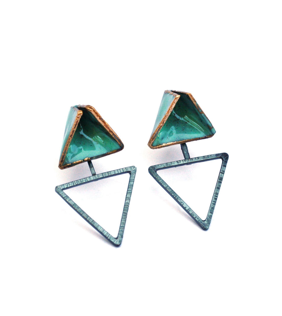 Reveal- Double Triangle Teal Post Earrings