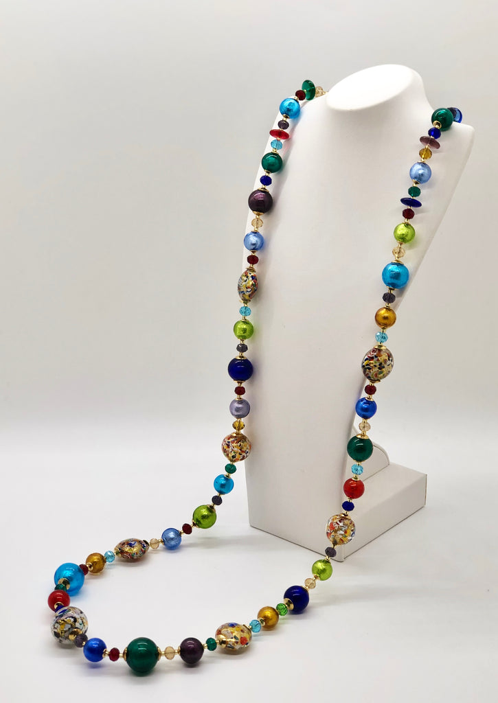"Multi-Color ""Mosaico"" Long Necklace"