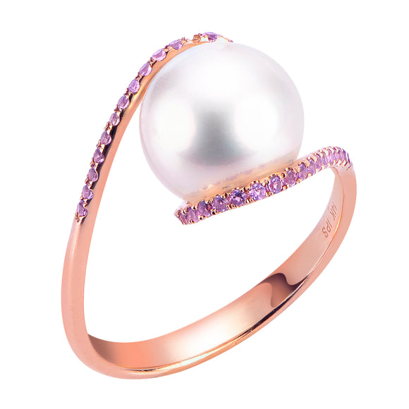 Pearl Accents 14KT Rose Freshwater Pearl Ring