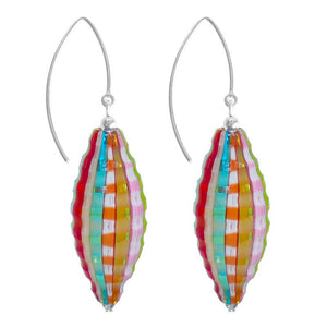Venezia Olive Millefiori Murano Glass Earrings- Rainbow