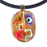 Cubist Face #2 Murano Glass Necklace- Gold