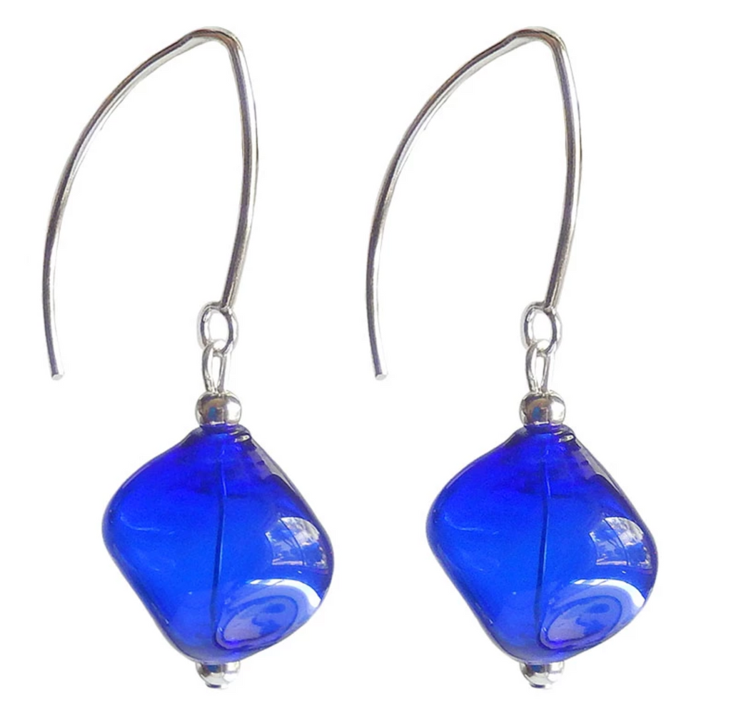 Sasso Murano Blown Glass Earrings- Cobalt