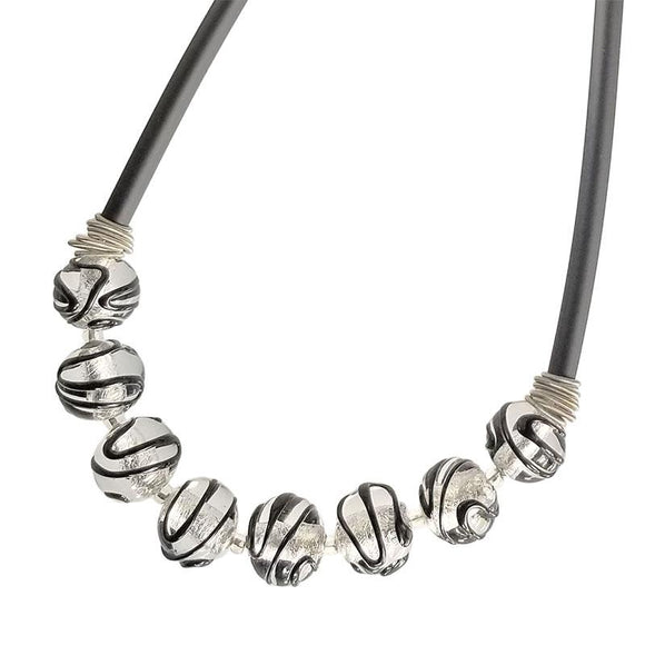 SPARKLE • murano glass necklace • BLACK CRYSTAL | SILVER black