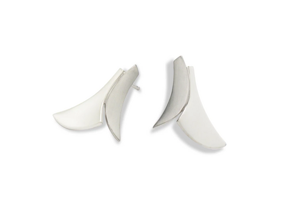 Petals Two-Tone Silver Earrings