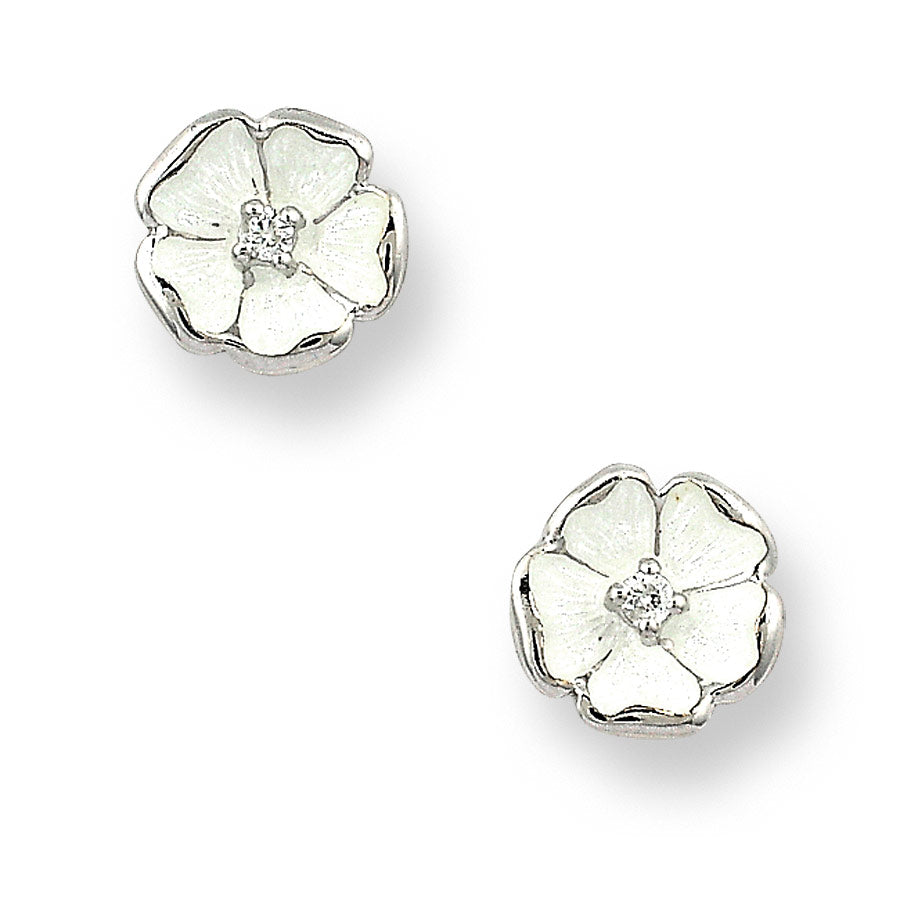 Sterling Silver White Rose Stud Earrings. White Sapphires