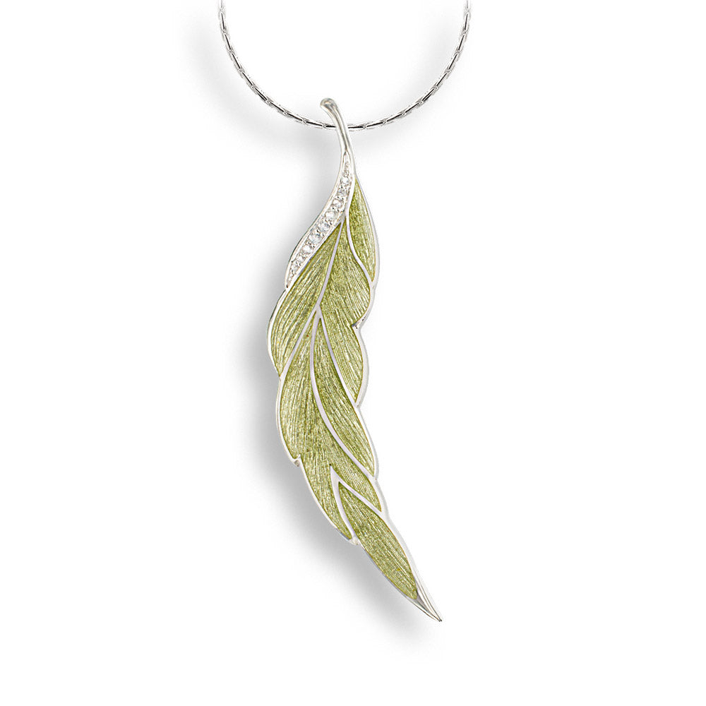 Sterling Silver Green Leaf Necklace. White Sapphires.