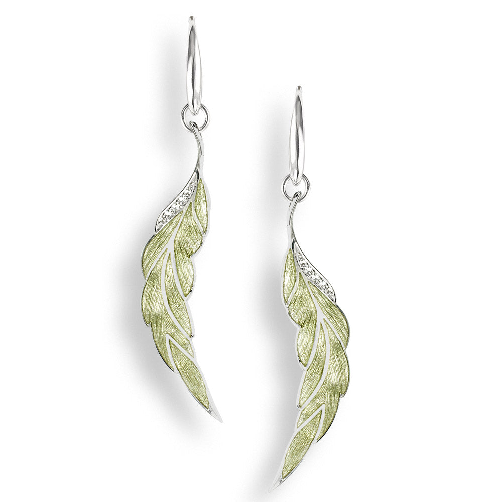 Sterling Silver Green Leaf Wire Earrings-White Sapphire